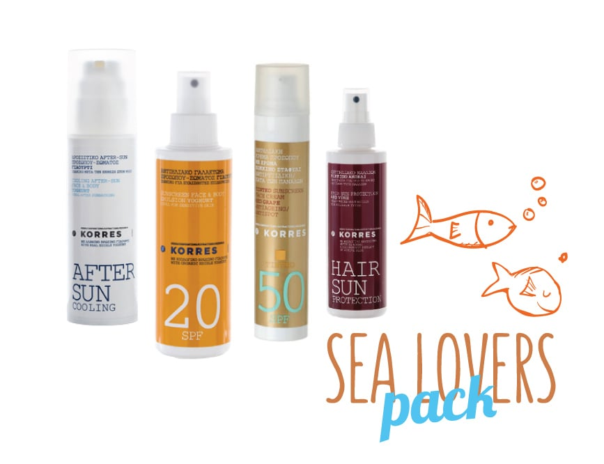 Korres Sea Lovers Pack with Tinted Red Grape Sunscreen Face Cream SPF50, 50ml, Yoghurt Sunscreen Face & Body Emulsion SPF20, 150ml, Red Vine Hair Sun Protection, 150ml & Cooling Yoghurt After Sun Face & Body Cream-Gel, 150ml