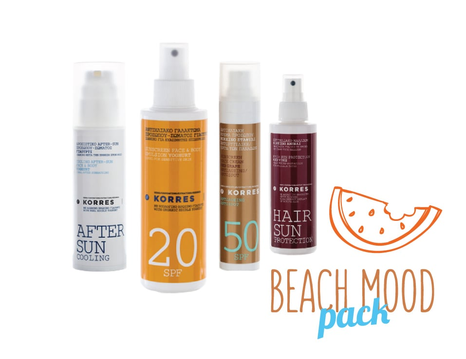 Korres Beach Mood Pack με Αντηλιακή Κρέμα Προσώπου Κόκκινο Σταφύλι SPF50, 50ml, Αντηλιακό Γαλάκτωμα Προσώπου & Σώματος SPF20 Γιαούρτι, 150ml, Αντηλιακό Μαλλιών Κόκκινο Αμπέλι, 150ml & After Sun Προσώπου & Σώματος με Γιαούρτι, 150ml