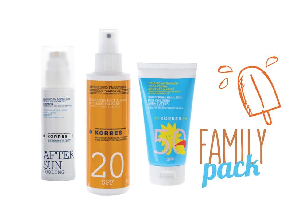 Korres Family Pack with Yoghurt Sunscreen Face & Body Emulsion SPF20, 150ml, Kids Sunscreen Emulsion SPF50 with Shea Butter, 150ml & Cooling Yoghurt After Sun Face & Body Cream-Gel, 150ml