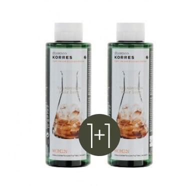 2 x Korres Τονωτικό Σαμπουάν για Γυναίκες κατά της Τριχόπτωσης με Κυστίνη & Γλυκοπρωτεΐνες (1+1) ΔΩΡΟ, 2 x 250ml