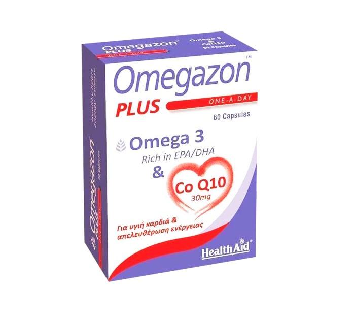 Health Aid Omegazon PLUS Ω3 & Co Q10 Συμπλήρωμα Ωμέγα 3 Λιπαρών Οξέων σε Συνδυασμό με Συνένζυμο Q 10, 60 caps