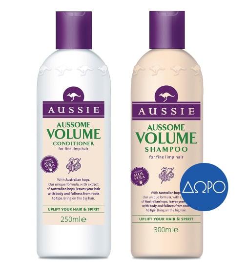 Aussie Aussome Volume Conditioner Κρέμα Μαλλιών Eμπλουτισμένη με Αυστραλιανό Λυκίσκο, 250ml & ΔΩΡΟ Aussie Aussome Volume Shampoo Σαμπουάν για Πλούσιο Όγκο, 300ml