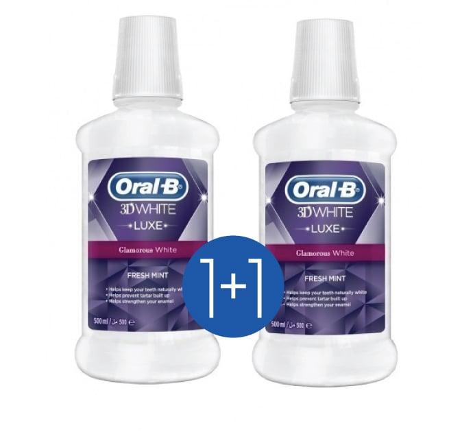 OralB 3D White Luxe Στοματικό Διάλυμα για Λευκά Δόντια με Άρωμα Μέντας (1+1 ΔΩΡΟ), 2 x 500ml