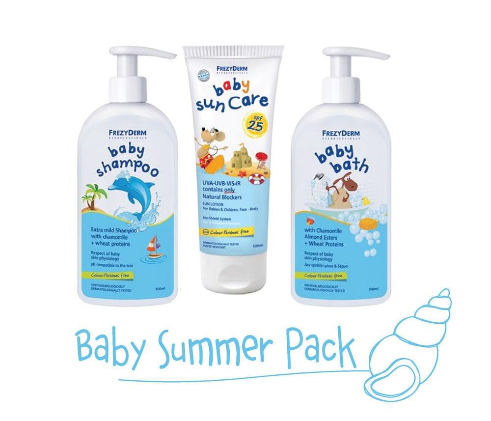 Frezyderm Baby Summer Pack with Baby Sun Care SPF25, 100ml, Baby Bath, 200ml + 100ml FREE & Baby Shampoo, 200ml + 100ml FREE