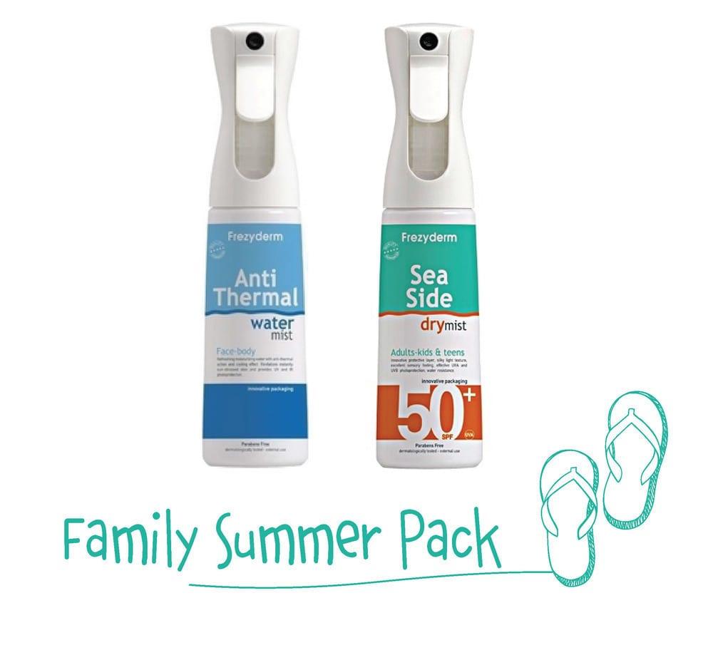Frezyderm Family Summer Pack με Sea Side Dry Mist SPF50+ Αντηλιακό Spray Πολύ Υψηλής Προστασίας, 300ml & Anti Thermal Water Mist Αναζωογονητικό Ενυδατικό Νερό με Αντιθερμική Δράση, για Πρόσωπο & Σώμα, 300ml