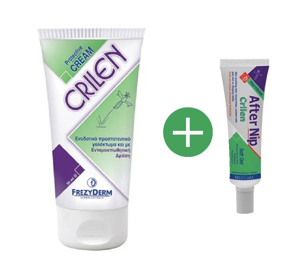 FREZYDERM Πακέτο Εντομοαπωθητικής Προστασίας FREZYDERM CRILEN 50 ml Ενυδατικό εντομοαπωθητικό γαλάκτωμα & FREZYDERM CRILEN AFTER NIP,Απαλό gel που ανακουφίζει το ερεθισμένο δέρμα από το τσίμπημα εντόμων, 30 ml