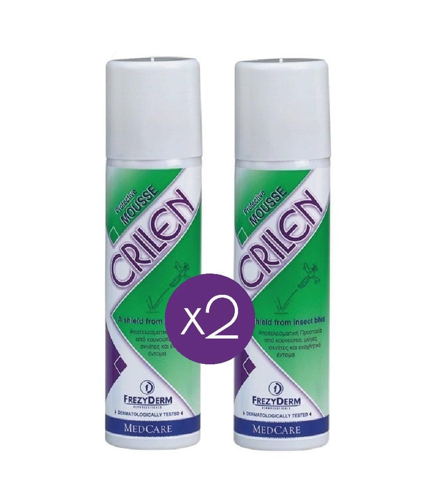 2 x FREZYDERM CRILEN MOUSSE, Ενυδατικό εντομοαπωθητικό γαλάκτωμα- μους που απωθεί αποτελεσματικά τα έντομα με φυσικό τρόπο, 150 ml