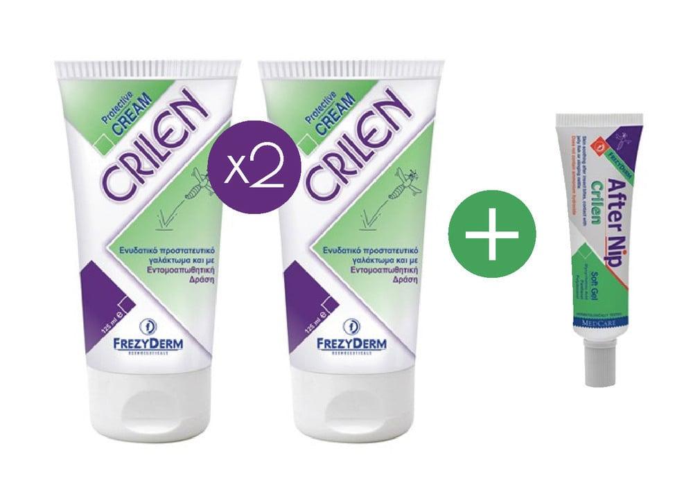 FREZYDERM Πακέτο Εντομοαπωθητικής Προστασίας 2 x FREZYDERM CRILEN 125 ml Ενυδατικό εντομοαπωθητικό γαλάκτωμα & FREZYDERM CRILEN AFTER NIP,Απαλό gel που ανακουφίζει το ερεθισμένο δέρμα από το τσίμπημα εντόμων, 30 ml