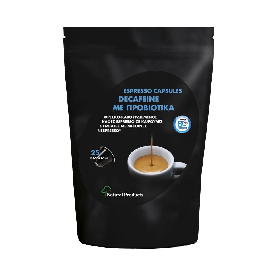 Natural Products Espresso Capsules Decafeine Καφές χωρίς Καφεΐνη με Προβιοτικά, 25 caps