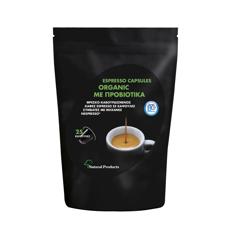 Natural Products Espresso Capsules Organic Οργανικός Καφές με Προβιοτικά, 25 caps