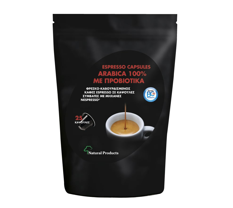 Natural Products Espresso Capsules Arabica 100% Καφές με Προβιοτικά, 25 caps