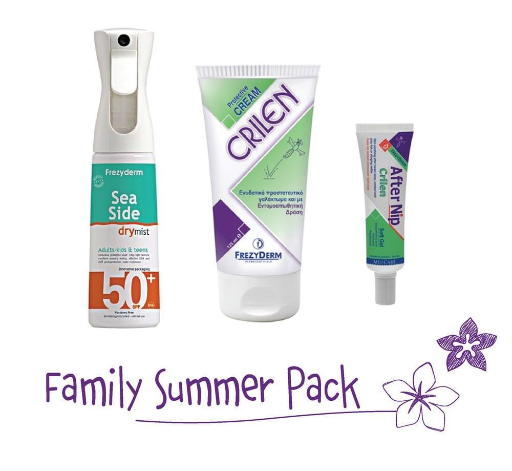 Frezyderm Family Summer Pack με Sea Side Dry Mist SPF50+ Αντηλιακό Spray, 300ml, Crilen Ενυδατικό Εντομοαπωθητικό Γαλάκτωμα, 125ml & Crilen After Nip Απαλό Gel για το Ερεθισμένο Δέρμα από το Τσίμπημα Εντόμων, 30ml