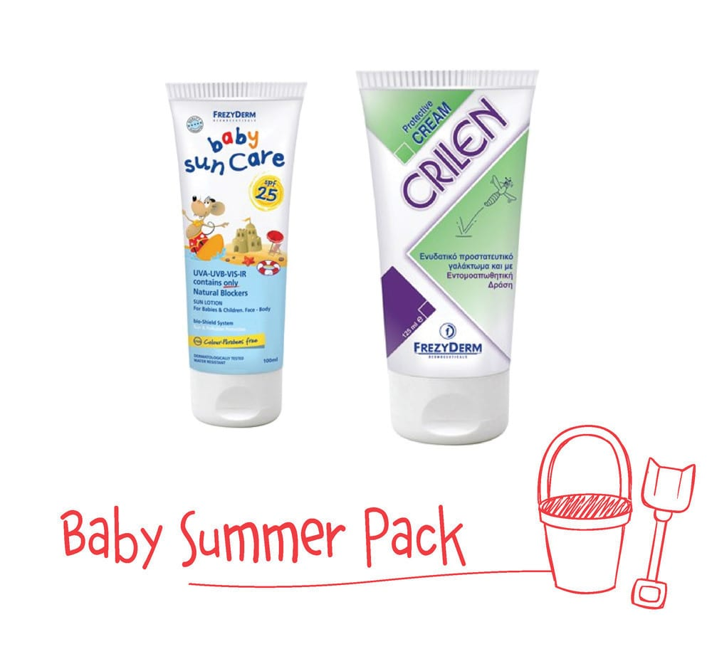 Frezyderm Baby Summer Pack with Baby Sun Care SPF25, 100ml & Crilen Moisturizing Emulsion and Insect Repellant , 125ml