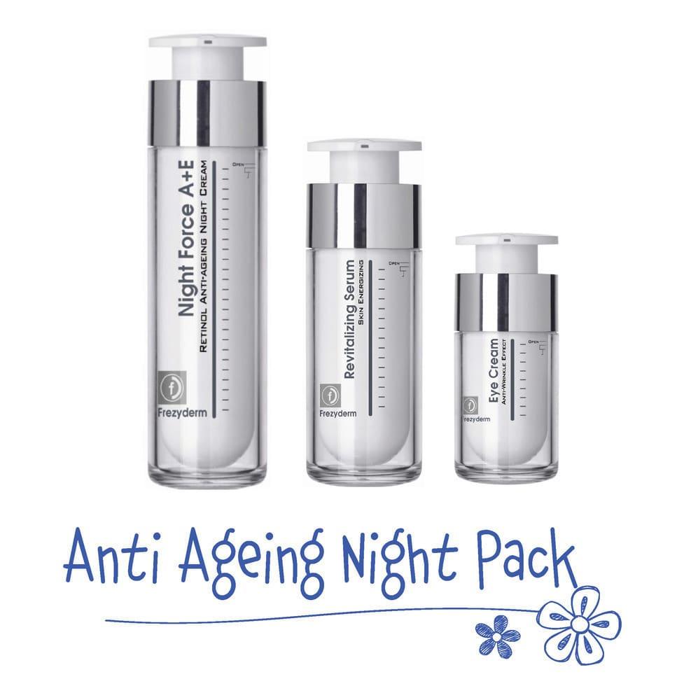Frezyderm Anti Ageing Night Pack με Revitalizing Serum Αντιγηραντικός Ορός Προσώπου, 30ml, Anti Wrinkle Eye Cream Αντιρυτιδική Κρέμα Ματιών, 15ml & Night Force A+E Cream Αντιγηραντική Κρέμα Νύχτας για Πρόσωπο & Λαιμό, 50ml