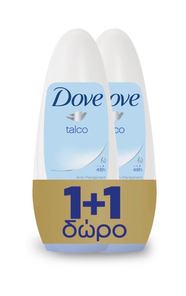 Dove Roll On Talco Αποσμητικό με 1/4 Ενυδατική Κρέμα (1+1 ΔΩΡΟ), 2 x 50 ml