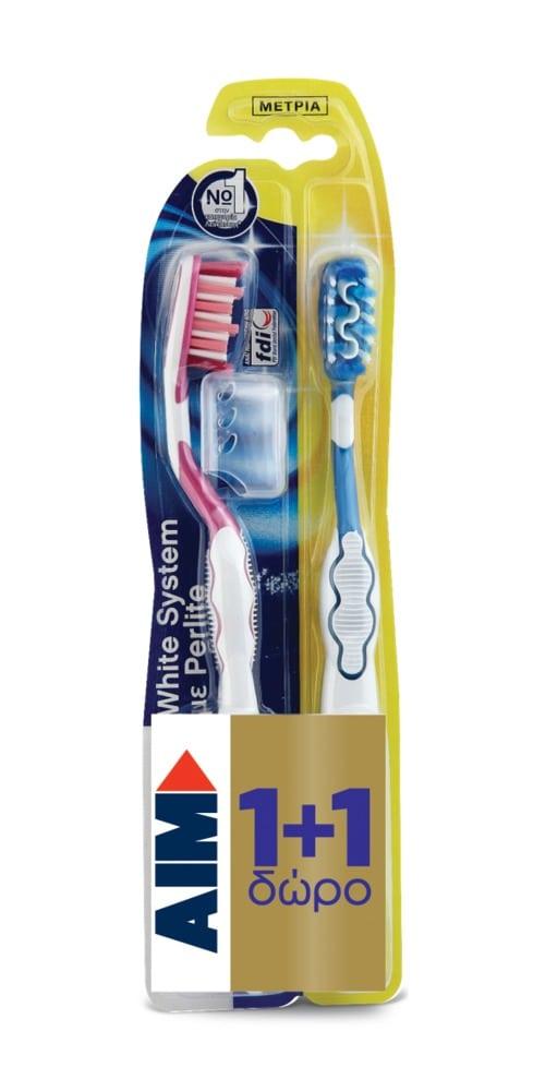 AIM White System (1+1 ΔΩΡΟ) Οδοντόβουρτσα ΜΕΤΡΙΑ για όσους δίνουν Έμφαση στη Λευκότητα των Δοντιών τους, 2 τμχ