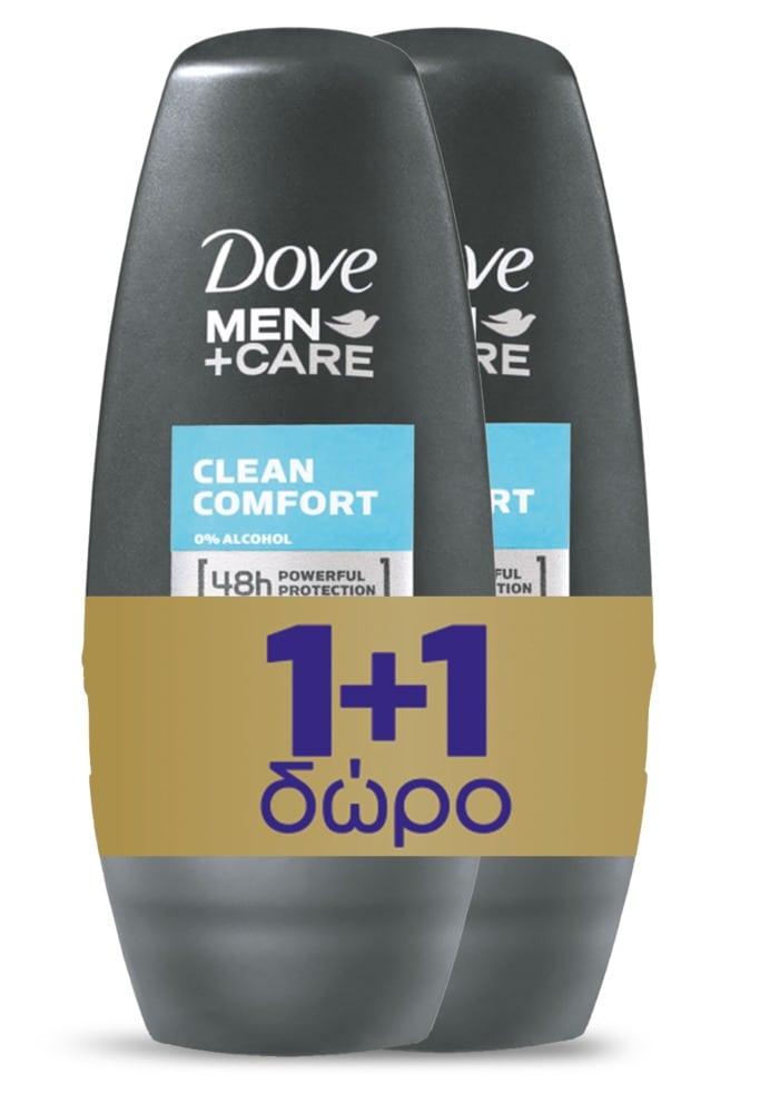 Dove Men+ Care Clean Comfort Roll On Αποσμητικό για Άνδρες (1+1 ΔΩΡΟ), 2 x 50 ml