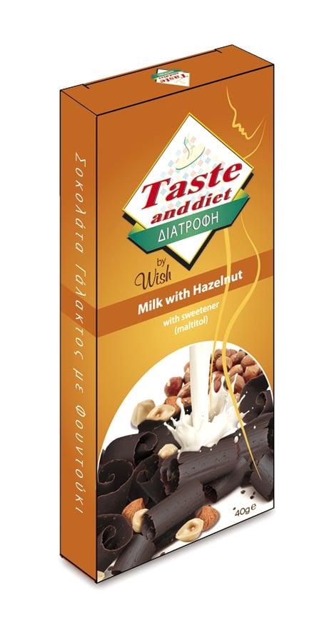 8ee09a6971 Wish Delicious Chocolate Taste  amp  Diet Σοκολάτα Γάλακτος με Φουντούκι  και γλυκαντικά μαλτιτόλης