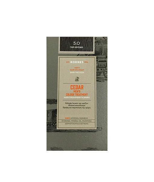 Korres Cedar Ανδρική Βαφή Μαλλιών Κέδρος 5.0 Γκρι Φυσικό, 40ml