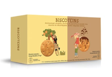 Power Health Biscoteins Απολαυστικά Μπισκότα Πλούσια σε Πρωτεΐνες & Φυτικές Ίνες, με Γεύση Σοκολάτα & Πορτοκάλι, 10 τεμάχια
