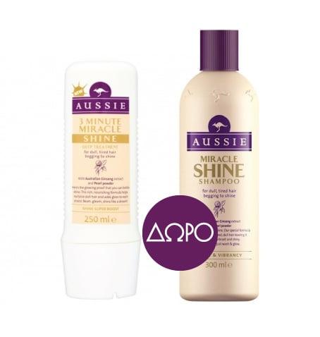 Aussie 3 Minute Miracle Shine Βαθιά Θεραπεία 3' για Θαμπά & Ξηρά Μαλλιά, 250ml & ΔΩΡΟ Aussie Miracle Shine Shampoo Σαμπουάν για Θαμπά & Ξηρά Μαλλιά, 250ml