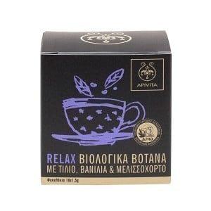 Apivita Relax Χαλαρωτικό Βιολογικό Τσάϊ με Λουίζα, Μελισσόχορτο & Βανίλια, 10 x 1.5gr