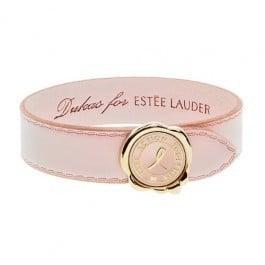 "Pink Ribbon - Συλλεκτικό Βραχιόλι για την Εκστρατεία Ενημέρωσης Καρκίνου του Μαστού, από Δέρμα Οικολογικής Κατεργασίας & Μεταλλικό Κούμπωμα Light Gold που απεικονίζει Βουλοκέρι με το Μήνυμα της Εκστρατίας \""Τοgether we are Stronger\"", 1 τεμάχιο"