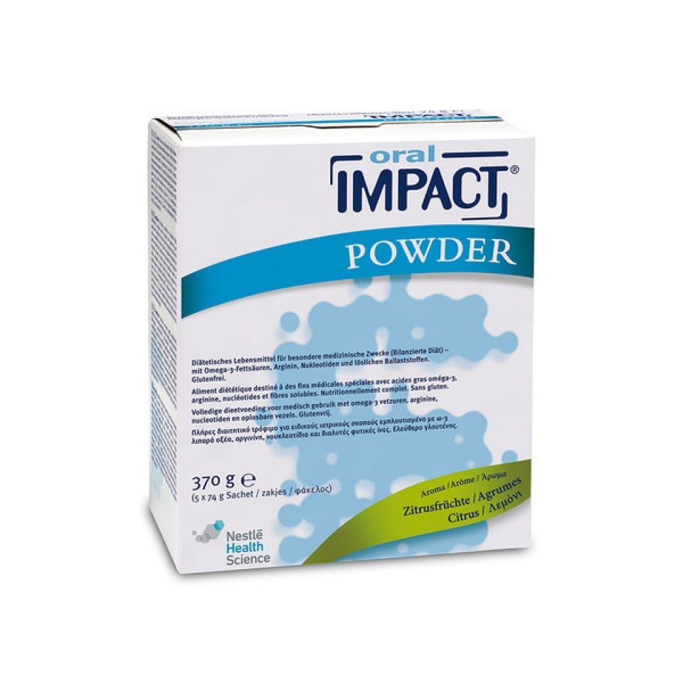 Cana Oral Impact Powder Ειδικό Συμπλήρωμα Ανοσοδιατροφής σε σκόνη με γεύση κίτρο, 5 x 74gr