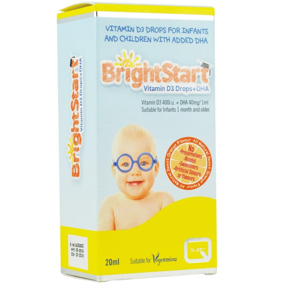 Quest Bright Start Συμπλήρωμα Διατροφής με Βιταμίνη D3 & DHA για Βρέφη & Παιδιά, 20ml