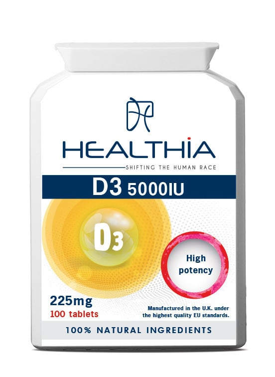 Healthia Vitamin D3 5000IU Συμπλήρωμα Διατροφής με Βιταμίνη D3, 100tabs