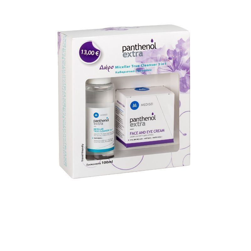 Medisei Panthenol Extra Face & Eye Cream 24hr, 50ml & GIFT Panthenol Extra Micellar True Cleanser 3 in 1, 100ml