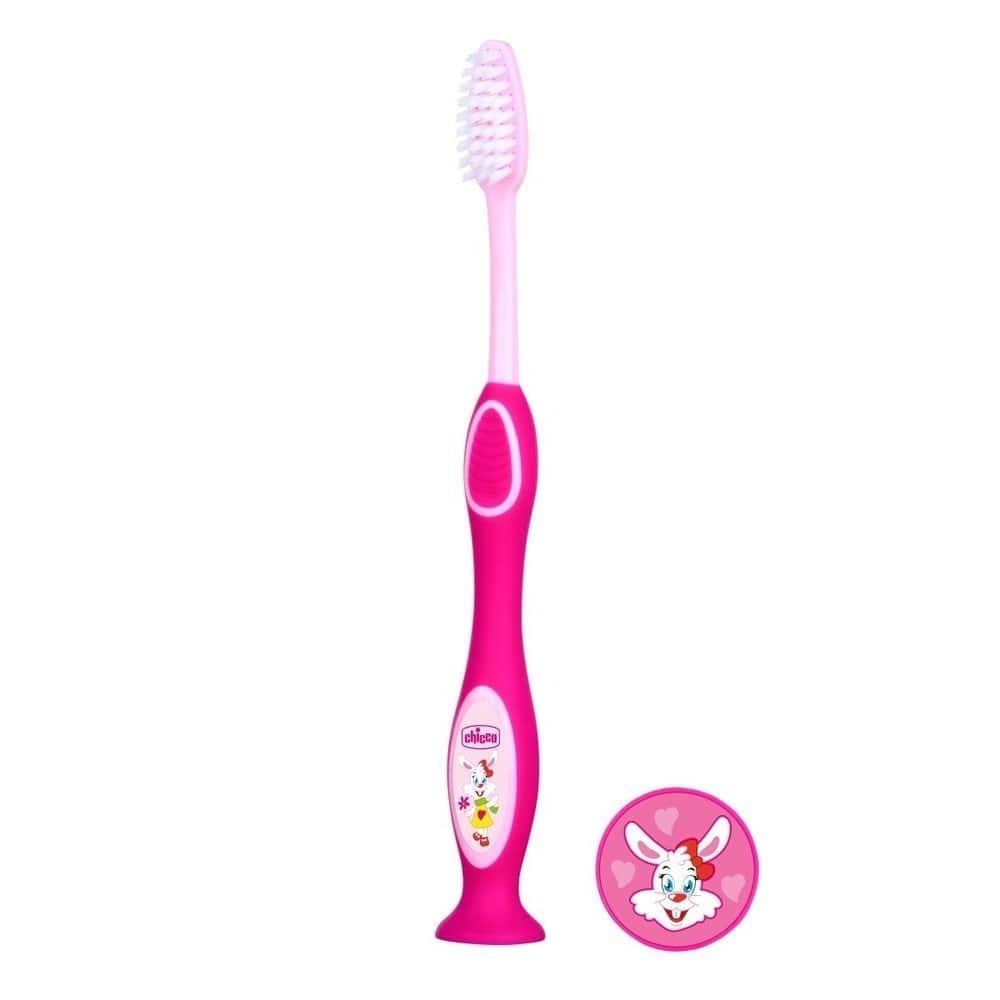 Chicco Παιδική Οδοντόβουρτσα 3-6 ετών, Ροζ Χρώμα, 1 τεμάχιο