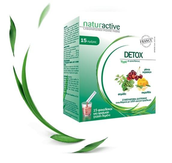 Naturactive Detox Συμπλήρωμα με Συνδυασμό Σημύδας, Μίσχων Κερασιού & Πικραλίδας για Αποτοξίνωση του Οργανισμού, 15 φακελλίσκοι