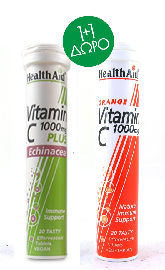 Health Aid Vitamin C 1000mg plus Echinacea, 20 eff.tabs & ΔΩΡΟ Vitamin C 1000mg με Γεύση Πορτοκάλι, 20 eff.tabs