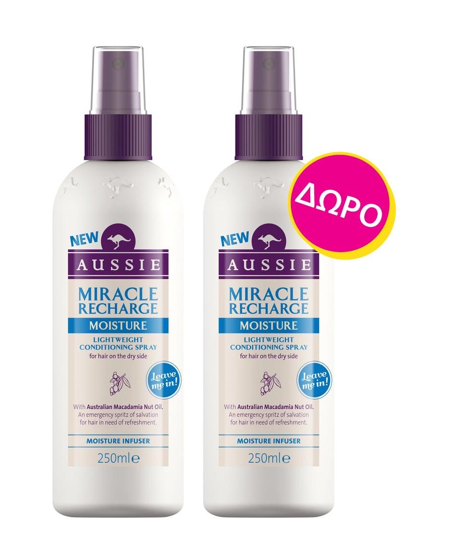 Aussie Miracle Recharge Moisture Conditioning Spray (1+1 ΔΩΡΟ) Σπρέι για τα ξηρά ταλαπωρημένα & διψασμένα μαλλιά, 2 x 250ml