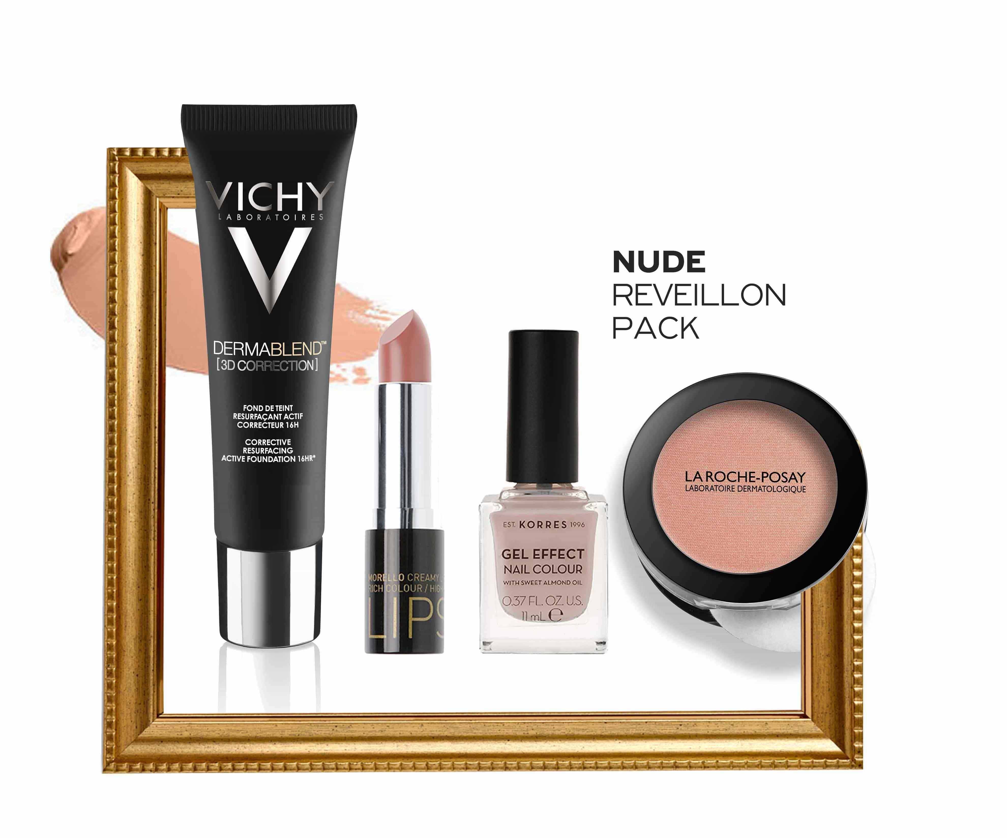 Nude Reveillon Pack με Vichy Dermablend 3D Make Up, 30ml, Morello Creamy Lipstick 04 Honey Nude Κρεμώδες Κραγιόν, 3.5ml, Korres Gel Effect Nail Colour No.31 Sandy Nude Βερνίκι Νυχιών, 11ml & La Roche Posay Toleriane Teint Blush No. 03 Ρουζ, 5gr