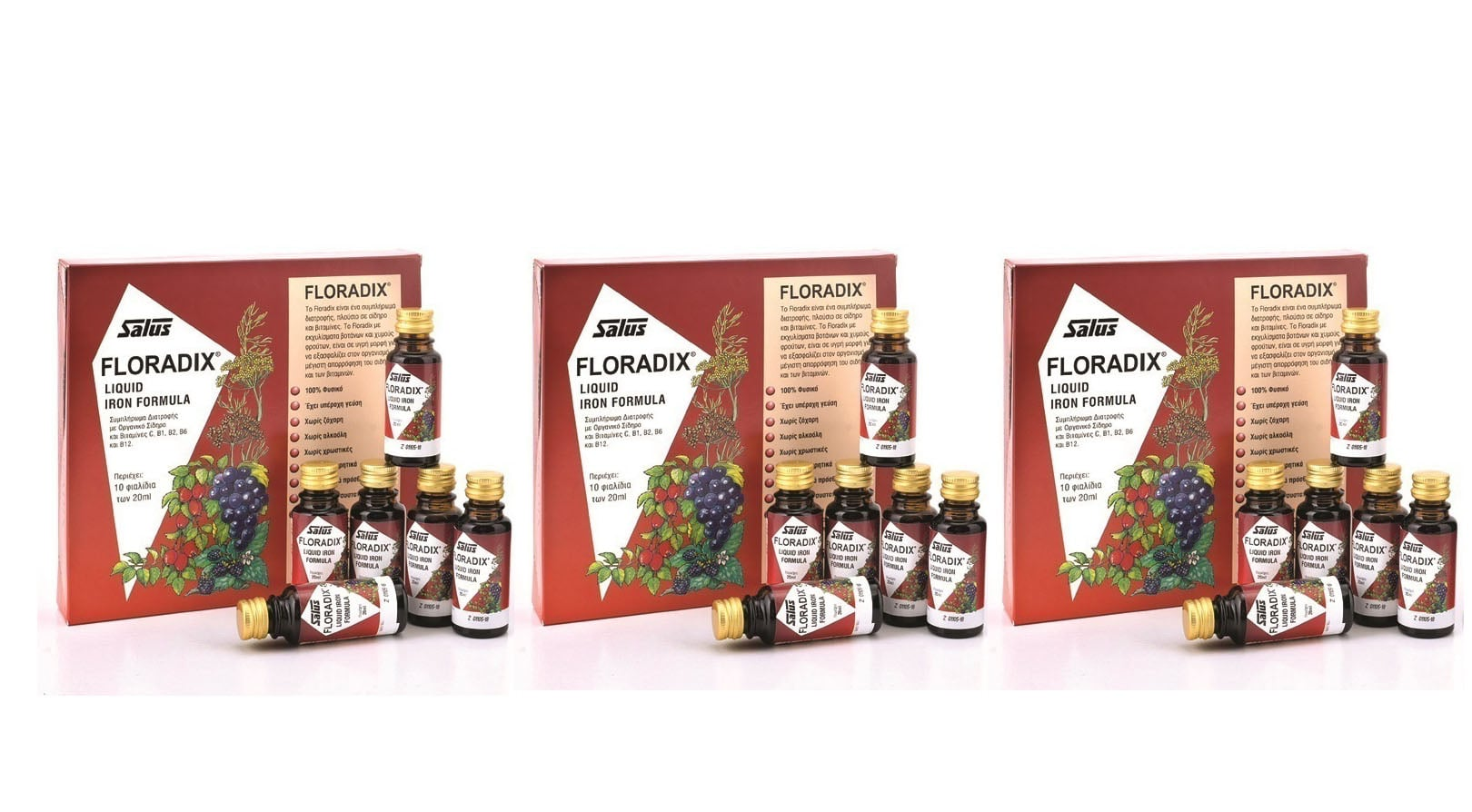 3 x Power Health Floradix Γυναικείο Τονωτικό με ειδικά εκχυλίσματα φρούτων, σίδηρο & βιταμίνες, 3 x (10x20ml)