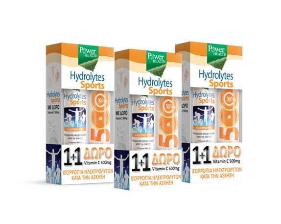 3 x Power Health (1+1 ΔΩΡΟ) με Hydrolytes Sports Αναβράζων Συμπλήρωμα Διατροφής με Ηλεκτρολύτες, 3 x 20 eff. tabs & ΜΑΖΙ Vitamin C 500mg Αναβράζουσα Βιταμίνη C με Γεύση Πορτοκάλι, 3 x 20 eff. tabs