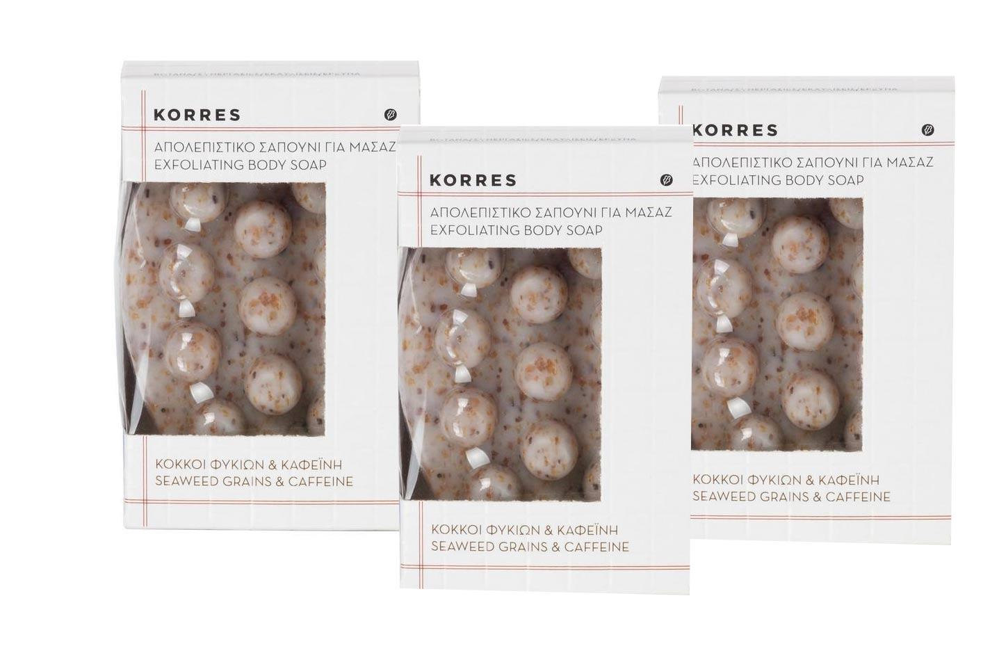 3x Korres Exfoliating Body Soap, 3x 125 gr