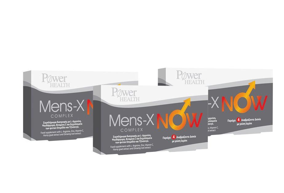 3 x Power Health Men's X Now Συμπλήρωμα Διατροφής για την Άμεση Τόνωση της Ερωτικής Διάθεσης & της Στυτικής Λειτουργίας, με Γεύση Λεμονάδας, 3 x 4 eff. tabs