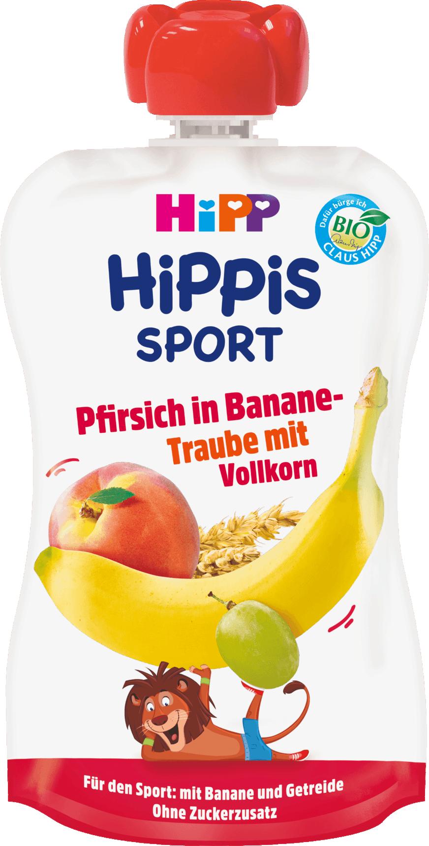 Hipp Hippies Sport Ροδάκινο, Μπανάνα, Σταφύλι & Δημητριακά Ολικής Άλεσης, 120gr