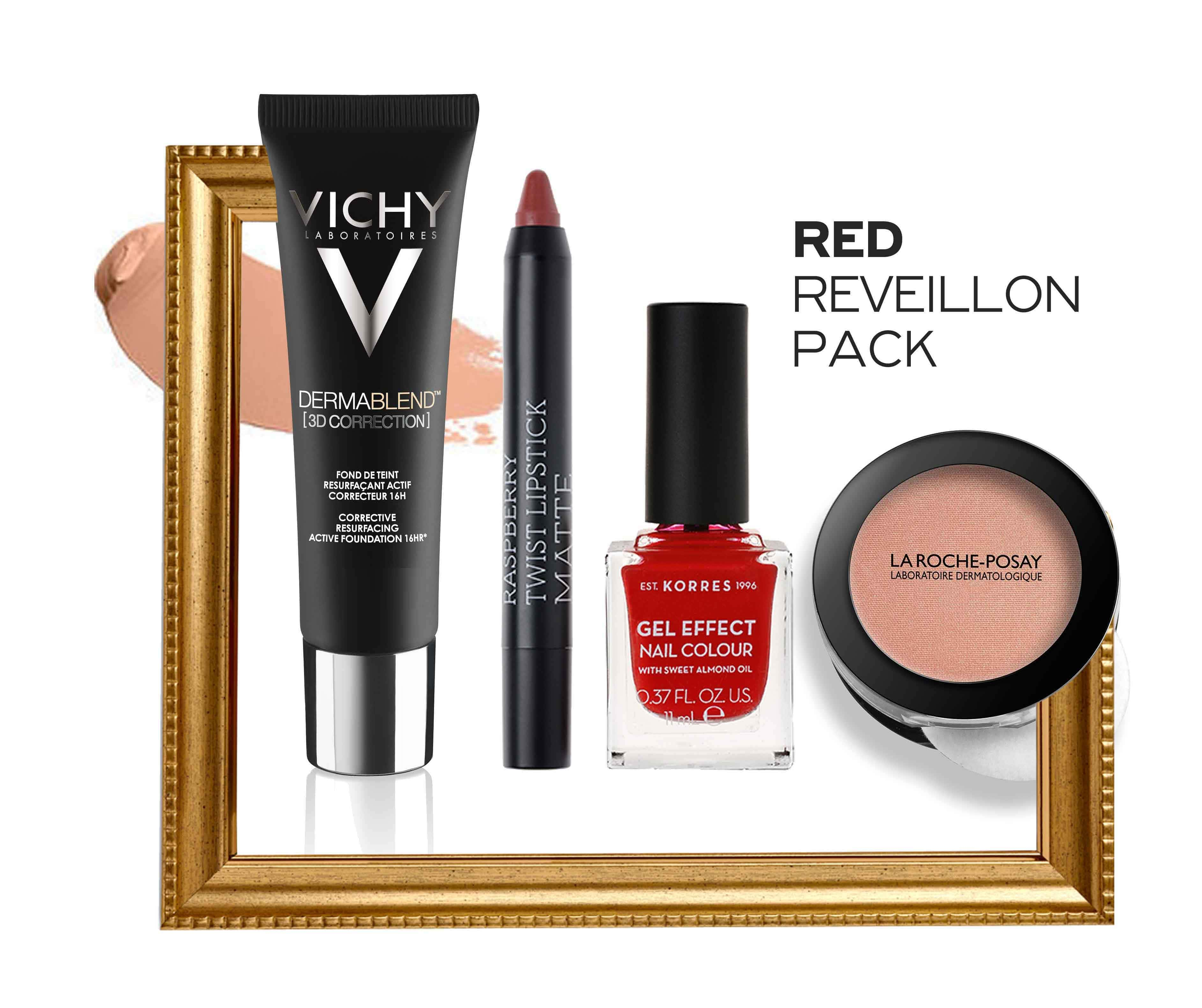 Red Reveillon Pack με Vichy Dermablend 3D Make Up, 30ml, Korres Twist Lipstick Matte Ruby Red Ματ Κραγιόν, 1.5ml, Korres Gel Effect Nail Colour No.53 Royal Red Βερνίκι Νυχιών, 11ml & La Roche Posay Toleriane Teint Blush No. 02 Ρουζ, 5gr