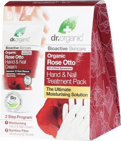 Dr. Organic Rose Otto Promo with Hand & Nails Cream, 125ml & GIFT Bamboo Cotton Moisturizing Gloves, 1 pair