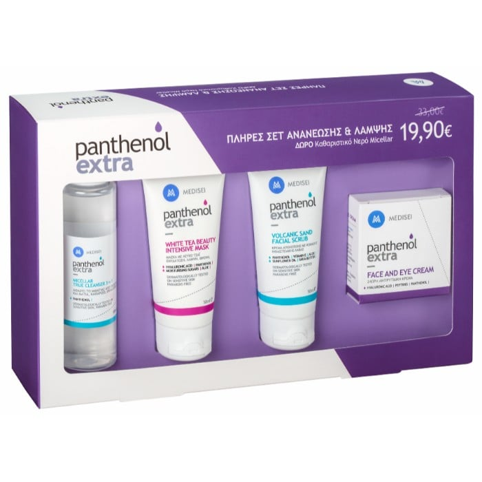 Panthenol Extra PROMO with Face & Eye Cream 24hr, 50ml, Volcanic Sand Facial Scrub, 50ml, White Tea Beauty Intensive Mask, 50ml & GIFT Micellar True Cleanser 3 in 1, 100ml