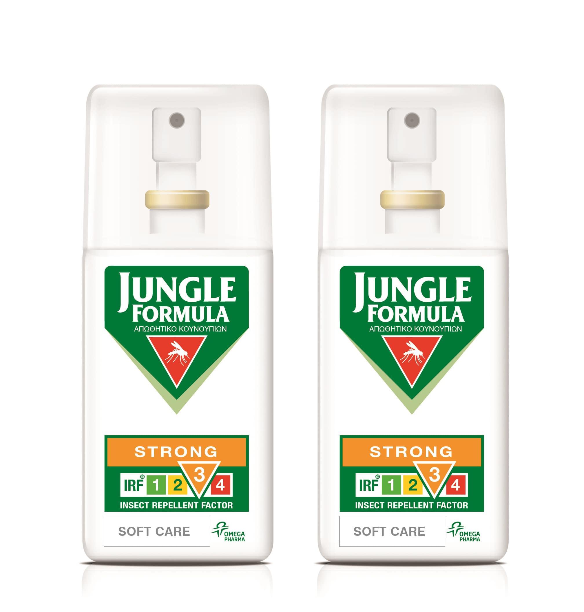 2x Jungle Formula Strong Soft Care Αντικουνουπικό spray με καταπραϋντικά συστατικά, 2 x 75ml