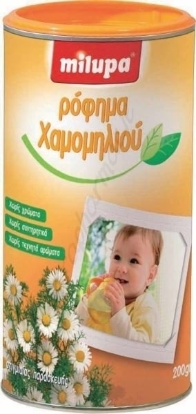 Milupa Ρόφημα Χαμομηλιού, στιγμαίας παρασκεύης για την αντιμετώπιση της δυσκοιλιότητας, χωρίς ζάχαρη, 200gr