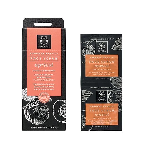 Apivita Apricot Face Scrub Scrub Προσώπου για Ήπια Απολέπιση με Βερύκοκο, 2 x 8ml