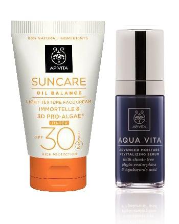 Apivita PACKAGE with Oil Balance Light Texture Tinted Face Cream SPF 30, 50ml & Aqua Vita Intense Moisturizing and Revitalizing Serum, 30ml