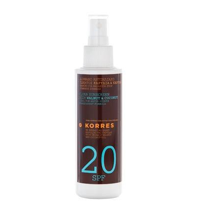 Korres Clear Sunscreen Body Walnut & Coconut 20SPF, 150ml