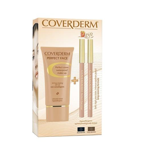 Coverderm Perfect Face 30ml no.3 αδιάβροχο make-up + Δώρο 2 perfectface eyeliners με απαλή, κρεμώδη υφή για την κάλυψη μικρών ατελειών και δυσχρωμιών της επιδερμίδας, όπως ακμή, ευρυαγγείες, λεύκη, μάσκα εγκυμοσύνης, πανάδες, κηλίδες, φακίδες, ερυθρότητα
